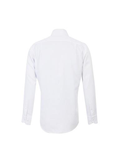 Kiğılı Uzun Kol Desenli Klasik Gömlek Beyaz